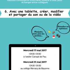 Les 17 et 31 mai 2017 : 6e Eidos-Café consacrés au son et à la vidéo avec une tablette